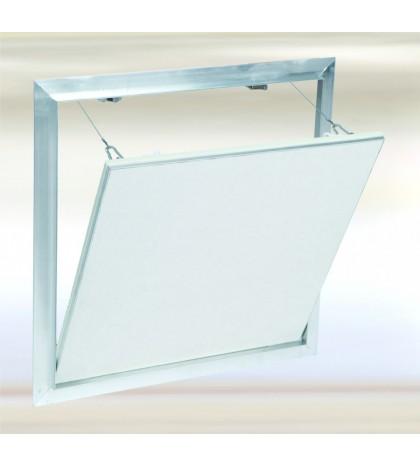 Trappe Système F2 Alu 395x375 mm. Plaque Hydro 12,5 mm Plaque à vis. Large fermeture latérale.